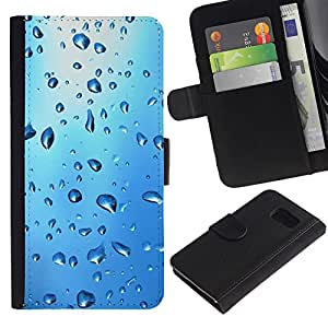 iBinBang / Flip Funda de Cuero Case Cover - Gota de Agua Azul - Samsung Galaxy S6 SM-G920