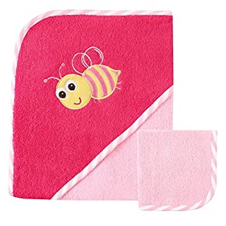 Luvable Friends Unisex Baby Cotton Hooded Towel and Washcloth, Bee, One Size