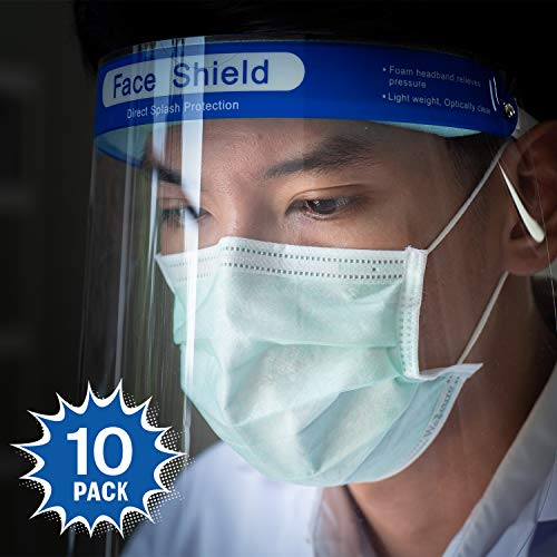 Katzco Reusable Face Shields - Clear Full Face Visor Mask with Removable Protective Film - Face and Head Coverage - Ideal for Automotive, Construction, General Manufacturing, Mining Uses (10 Pack)
