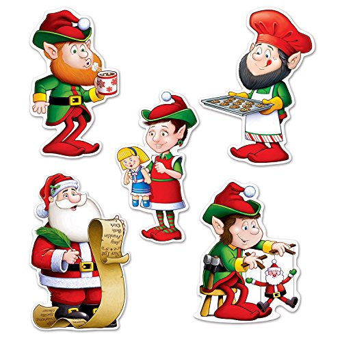 (Beistle 22222 Mini Santa and Elves Cutouts, 5.5