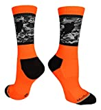 MadSportsStuff Hockey Player Crew Socks (Neon Orange/Black Camo, Small)