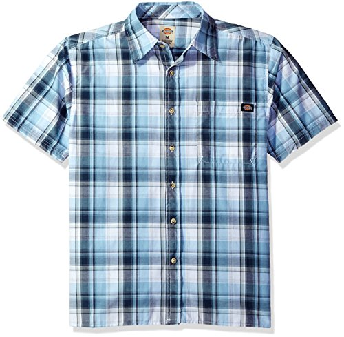 Dickies Men's Relaxed Fit Short Sleeve Square Bottom Plaid Shirt, Executive Light Blue/Navy, XL - Executive Button Down Shirt