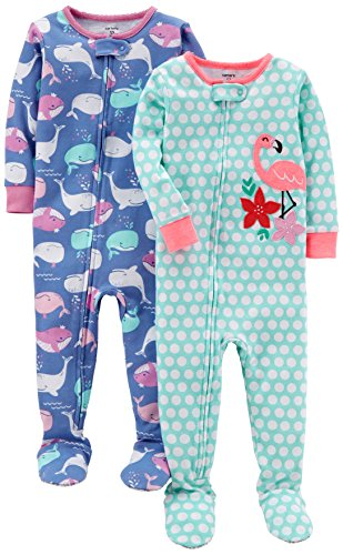 Carter's Baby Girls' 2-Pack Cotton Footed Pajamas, Whale/Flamingo 3T