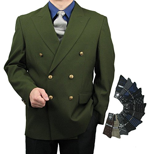 Mens Classic Fit Double-Breasted Blazer w/1 Pair of Dress Socks - Olive 44R