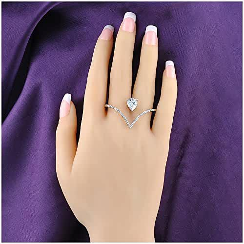 Mytys Stylish Heart Shape Austria Crystal and Cubic Zircon 2 Finger Rings