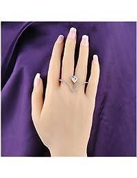 Stylish Heart Shape Teardrop Crystal 2 Finger Fashion Silver Rings CZ Cubic Zirconia Ring Size 8