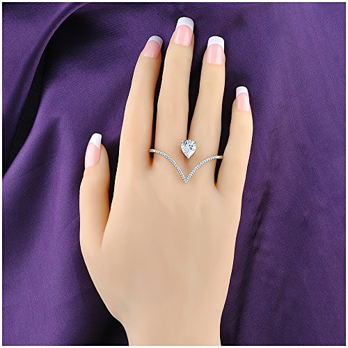 Silver Two Finger Ring (Mytys Love Forever Cubic Zirconia 2 Finger Ring Fashion Cocktail Statement Wedding Silver Ring)