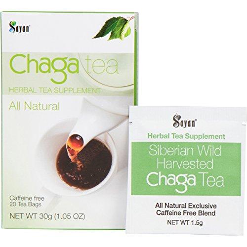 Sayan Siberian Chaga Mushroom Tea (Unbleached 20 Tea Bags) – Wild Harvested, Mix of Raw and Extract Chaga, Herbal Tea Supplement, Caffeine Free