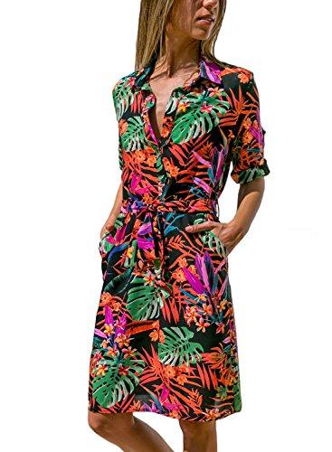 HOTAPEI Womens Summer Roll up Sleeve Button Down Tie Waist Shirt Dress