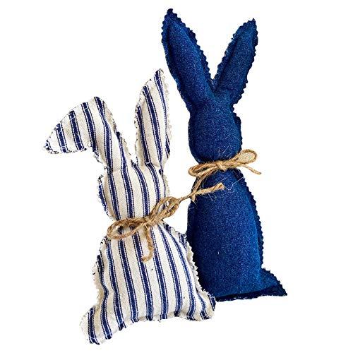 2pcs Buavffalo Plaid Spring Easter Bunny Decoration, Stuffed Fabric Bunnies Farmhouse Pastel Bunny Decor (Blue,White)