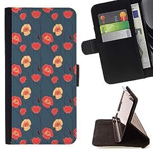 BullDog Case - FOR/Samsung Galaxy S5 V SM-G900 / - / floral blue red pink wallpaper native /- Monedero de cuero de la PU Llevar cubierta de la caja con el ID Credit Card Slots Flip funda de cuer