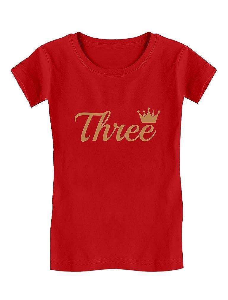 Third Birthday Gift 3 Year Old Birthday Crown Toddler/Kids Girls' Fitted T-Shirt GZallaMgw5