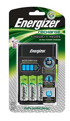 Energizer AA/AAA 1 Hour Charger with 4 AA NiMH Rechargeable Batteries (Charges AA or AAA Batteries in 1 Hour or ()