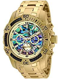 Men's 50mm Pro Diver Scuba Quartz Chronograph Carbon Fiber Bezel Abalone Dial Bracelet Watch
