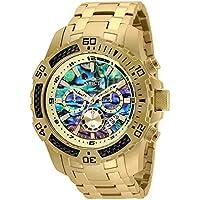 Invicta Men's 50mm Pro Diver Scuba Quartz Chronograph Carbon Fiber Bezel Abalone Dial Bracelet Watch