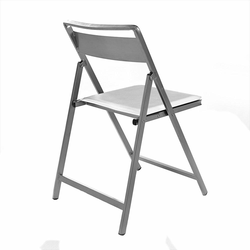 Todomueble NOE Silla, Aluminio, Blanco, 40x6x89 cm, 4 ...