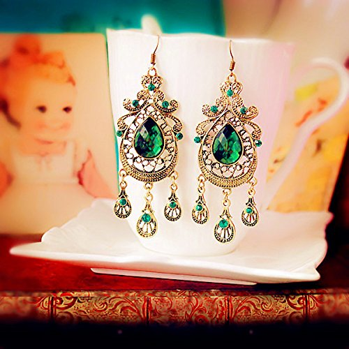 Meenanoom Vintage Aulic Style Green Crystal Emerald Dangle Chandelier Earrings (Chandelier Crystal Vintage Necklace)