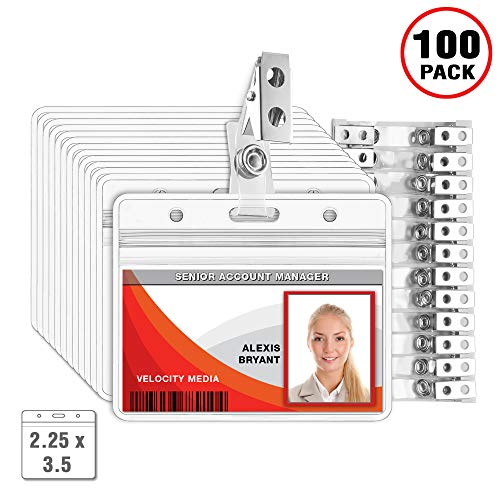 MIFFLIN Horizontal Plastic Card Holder with Clip, ID Badge Holder with Clip (Clear, 2.25x3.5 inch, 100 Pack) -