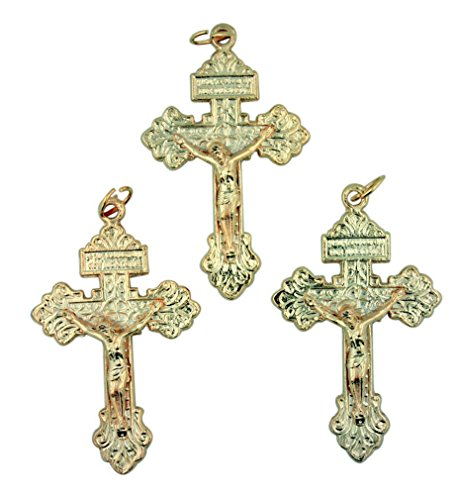 Lot of 3 Gold Tone Cross Pendant 2 1/4 Inch Pardon Crucifix with Sacred Heart