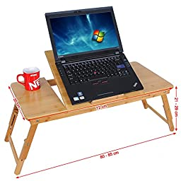 SONGMICS Right/Left handed Laptop Desk Bamboo Foldable Bed Tray w\' Tilting Top&Drawer ULLD004