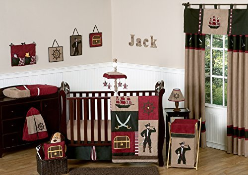Sweet Jojo Designs 11-Piece Treasure Cove Pirate Red Black Ship Baby Boy Bedding Crib Set Without Bumper (Pirates Cove Nursery)