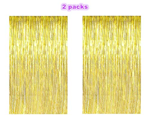 Metallic Tinsel Foil Fringe Curtain Tassel Curtain Backdrop for Wedding Party Photograph Decoration(2 packs,Golden)]()