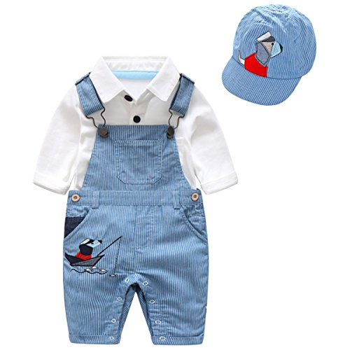 Boarnseorl 3 Pcs Toddler Baby Boys Long Sleeve White Onesie Blue Overalls Outfit Suits With Cap,Infant Pants Clothes Set (Clothing Blue Infant Kids)