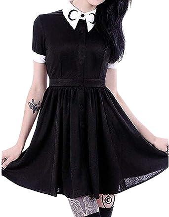 Camiseta gótica para mujer, estilo punk, estilo vintage, de manga corta, con cuello, ideal para el tiempo libre, para fiestas y disfraces de adultos negro Negro L: Amazon.es: Relojes