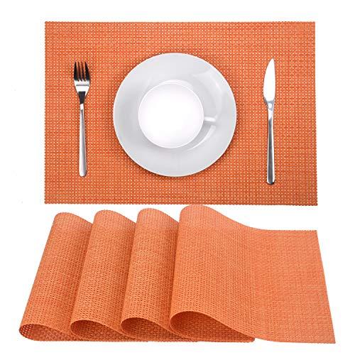 Zupro Placemats, Heat-Resistant Placemats Stain Resistant Anti-Skid Washable PVC Table Mats Woven Vinyl Placemats, Set of 4(4pcs placemats,Orange) (Orange Table Kitchen)