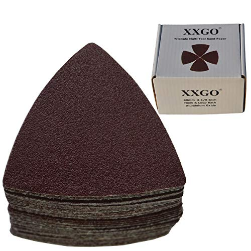 XXGO 55 Pcs Triangle 3-1/8 Inch 80mm 60/80/100/120/240 Grits Oscillating Multi Tool Sanding Paper -