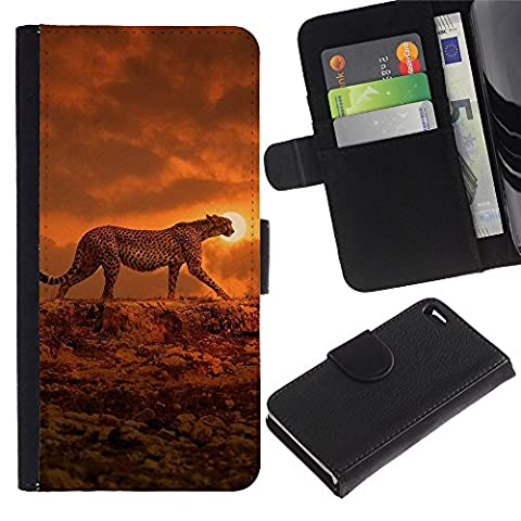 [Neutron-Star] Colorful Pattern Flip Wallet Leather Holster Holster Protective Skin Case Cover For Apple iPhone 4 / iPhone 4S [ocelot sunset orange African - Ocelot Faux Fur