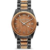 New Original Grain Wood Wrist Watch   Classic Collection 43MM Analog Watch   Wood and Stonewashed Stainless Steel Watch Band   Japanese Quartz Movement   Koa Wood