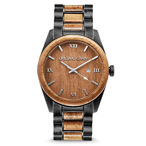 New Original Grain Wood Wrist Watch | Classic Collection 43MM Analog Watch | Wood and Stonewashed Stainless Steel Watch Band | Japanese Quartz Movement | Koa Wood
