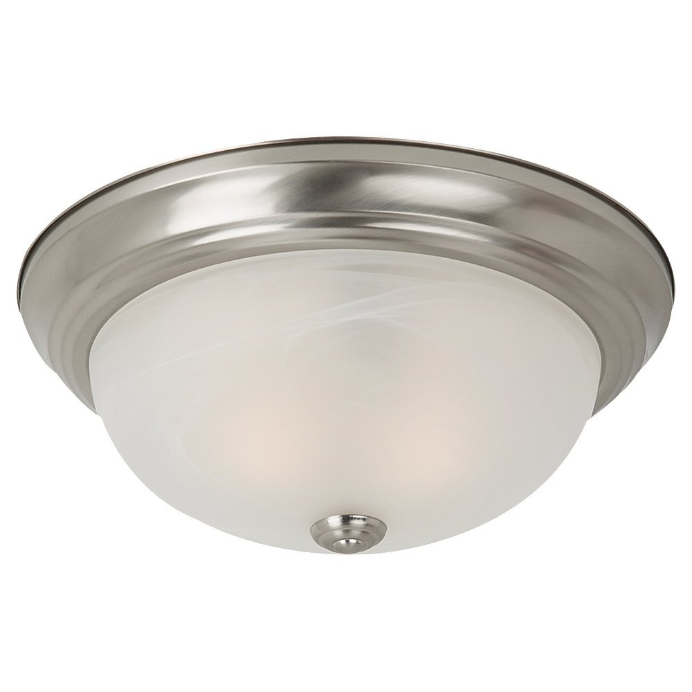 Sea Gull Lighting 75942-962 Windgate Two-Light Flush Mount Ceiling Light with Alabaster Glass Shade, Brushed Nickel Finish