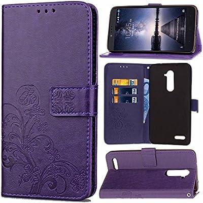 Guran Funda de Cuero PU para ZTE Zmax Pro Z981 Smartphone Función de Soporte con Ranura para Tarjetas Flip Case Trébol de la suerte en Relieve Patrón Cover: Amazon.es: Electrónica