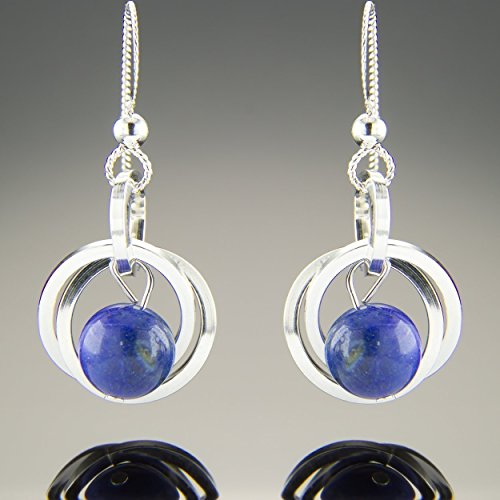 Dainty Argentium Sterling Silver Blue Lapis Lazuli Gemstone Dangle Earrings