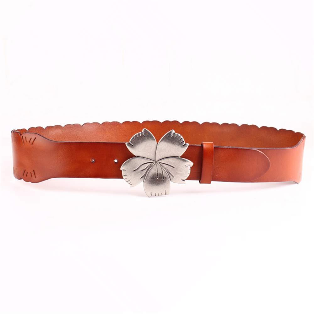Brown Canvas Belt Ladies Vintage Leather Flower Top Layer Cowhide Wide Belt Dress Down (color   Black)