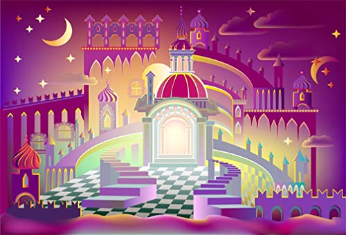 AOFOTO 84x60 Inches Fantastic Castle Wall Hanging Tapestry, Chic Tapestries Islamic Moon Star Sky Art Fairy Tale Palace Arabian Nights Home Decoration Living Room Bedroom Dorm Decor Polyester Ornament (Arabian Nights Wall Art)