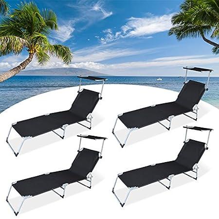 HG/® Negro Jard/ín plegable c/ésped con techo solar Cama solar Camping 189cm Cargable 110kg