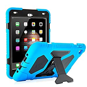 iPad Mini 4 Case for Kids,Aceguarder Silicone Protective Case Shockproof Kidsproof with Kickstand and Clear Plastic Screen Protector (Pink Blue)