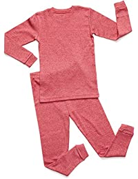 Solid Marled 2 Piece Pajama 100% Cotton (Size 6-14)