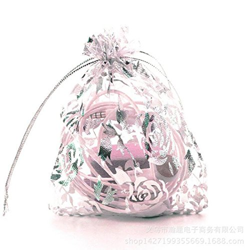 (Zhiheng 100pcs Organza Wedding Party Gift Bags Rose Pattern Sheer Drawstring Pouches Jewelry Gift Bags Christmas Party Gift Favor Bags (white-silver, 4