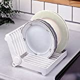 HOKIPO Brand Folding Plastic Kitchen Dish Rack Stand Plate Holder ,1 Piece,White