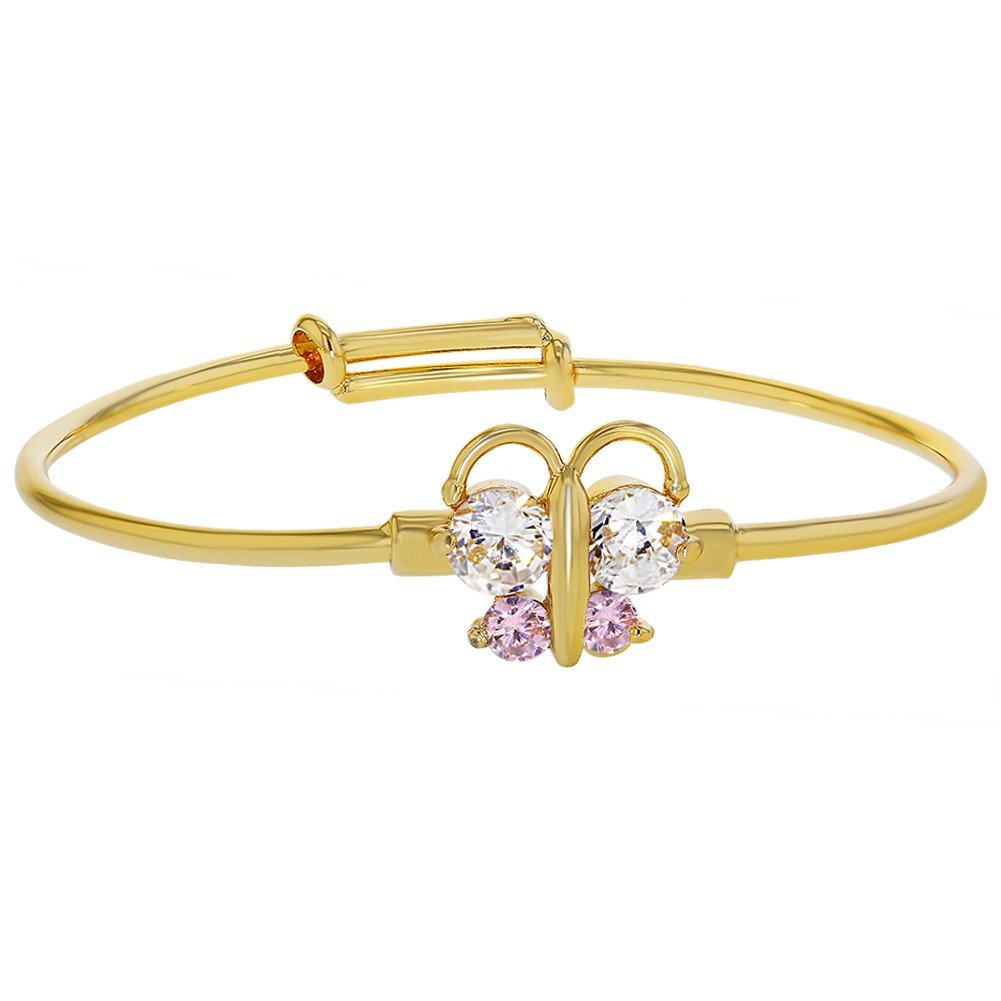 Gold Plated 18k Pink White Baby Girl Adjustable Butterfly Bangle Bracelet In Season Jewelry 02-0504
