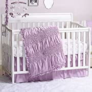 Lilac Kisses Purple Smocked 3 Piece Crib Bedding Set by The Peanut Shell
