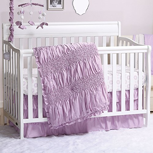 Lilac Kisses Purple Smocked 3 Piece Crib Bedding Set by The Peanut ()