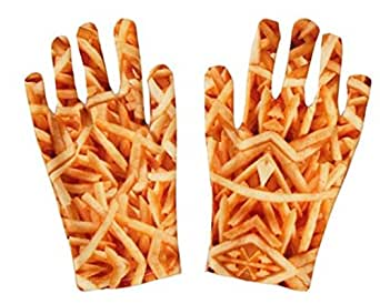 Fashion Gloves,Vibrant 3D French Fry Design!!