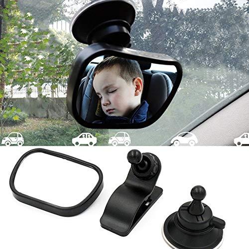 2-in-1 Baby R/ückspiegel Auto Sitz Innenspiegel Schwarz