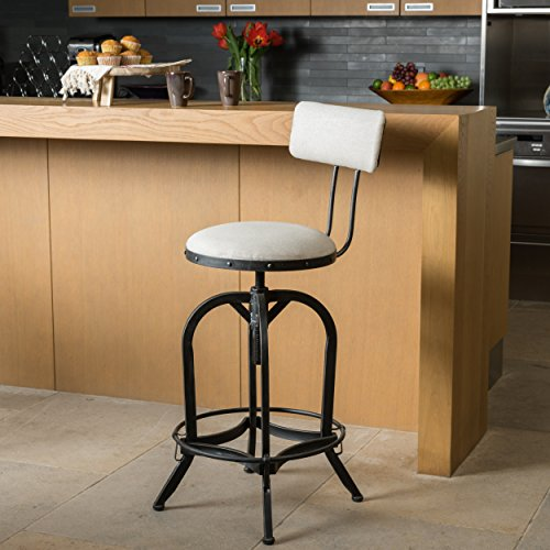 Samthorn Metal Industrial Barstool w/ Backrest (Off White Fabric) Off White Fabric Seat