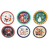 12 Round Christmas Dinner Paper Plates